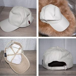 Accessories - NEW Unisex Beige Nude Faux Leather Baseball Cap